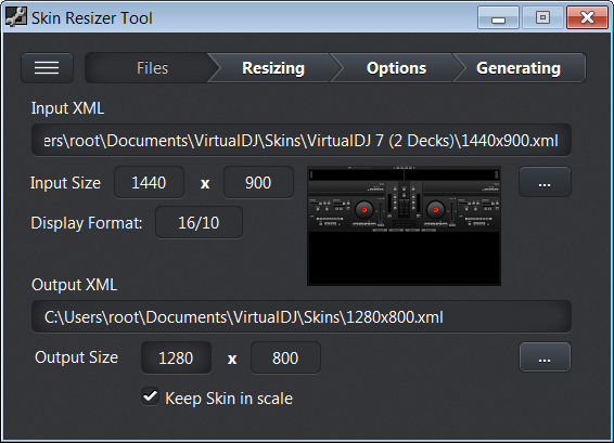 Skin Resizer Tool for VirtualDJ - Software Design